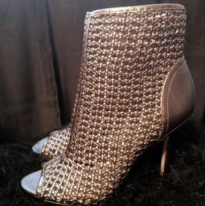 Sam Edelman Pewter Peep Toe Booties
